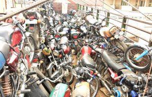 Truck load of motor bikes