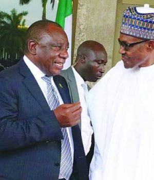 Presidents Cyril Ramaphosa of South Africa and Muhammadu Buhari of Nigeria