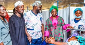 Dr. Mrs Sanwo-Olu at the flag off of Free Surgical Intervention Program organised by the Lagos State Government in Collaboration with Benjamin Olowojebutu Foundation