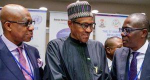 Gov. Dapo Abiodun of Ogun, President Buhari and Gov. Babajide Sanwo-Olu of Lagos