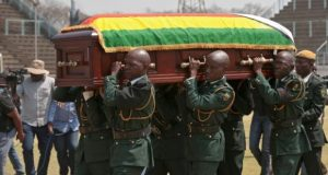 Mugabe's remains in casket