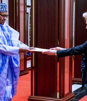 President Buhari with Ambassador of Germany, Birgitt Ory,