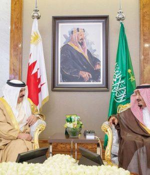 Saudi King Salman and Bahrain's King Hamad bin Isa Al-Khalifa