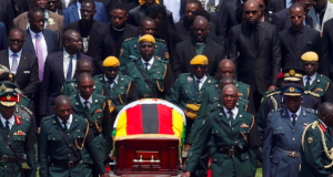 Remains of Zimbabwe's ex-leader Robert Mugabe at the state funeral
