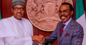 President Buhari with Bismarch Rewane