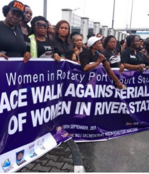 Women protest killing of young women in Rivers