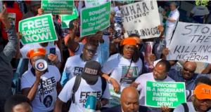 Anti-Buhari protest at the UN Headquarters, New York