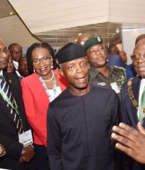 VP Yemi Osinbajo listens to FistBank's Group CEO, Dr. Adesola Adeduntan