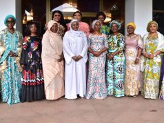 Aisha Buhari flanked by Mrs Osinbajo and other State Govs wives
