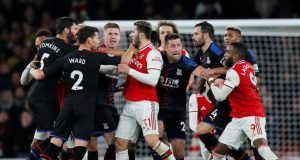 Crystal Palace and Arsenal players clash