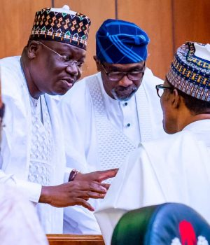 President Buhari with leadership of NASS