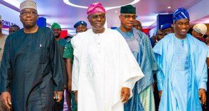 Govs Abdulrahaman Abdulrazaq of Kwara, Sanwo-Olu of Lagos, Dapo Abiodun of Ogun and Dr. Obafemi Hamzat, Lagos Dep. Gov