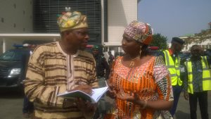 Hon. Abike Dabiri-Erewa and her media aide, Abdur-Rahman Balogun