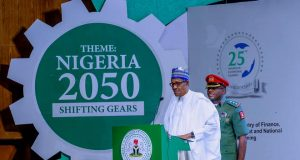 President Buhari addressing participants at the NESG summit