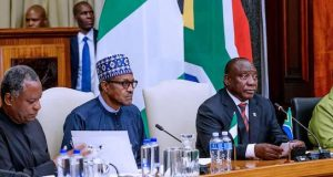 Nigeria's Foreign Affairs Minister with Presidents Buhari and Ramaphosa