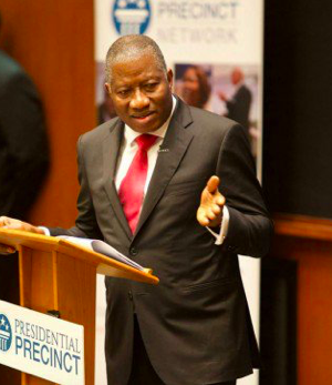 Goodluck Jonathan speaks at a summit taking place in Niamey, Niger Republic