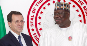 French Ambassador to Nigeria, Jerome Pasquier with Sen. President Ahmad Lawan