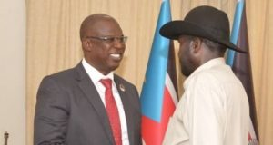 Timipre Sylva, in a meeting with South Sudanese President, Salva Kiir, at Juba Sudan, Saturday.