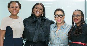 L-R: Njideka Esomeju, Regional Sales Director, Lagos 1, Access bank Plc; Aituaje Iruobe (aka Waje ) Music Artist; Ayona Trimnell, Coordinator, 'W' Initiative, Access Bank Plc; and Ada Udechukwu, Head, Women Banking, Access Bank plc