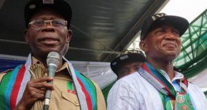 Adams Oshiomhole and Bayelsa APC Gov'ship candidate,, David Lyon