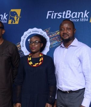 Ismail Omamegbe, Head, CR&S and Media & External Relations, FirstBank; Adeola Asabia, Member, Board of Trustees, Samuel Asabia Chair, Business Ethics, University of Lagos, FirstBank Endowment Programme; Banji Fehintola (CFA), President, CFA Society Nigeria at the regional level of the 2019 Ethics Challenge held in Lagos