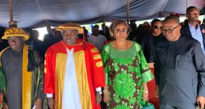 Jonathan, Ugwuanyi and Obi at the convocation ceremony
