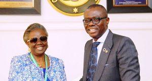 CITN President, Dame Olajumoke Simplice with Gov. Babajide Sanwo-Olu