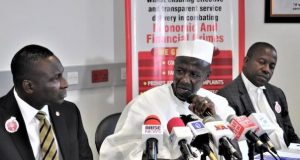 Ibrahim Magu, EFCC boss addressing stakeholders