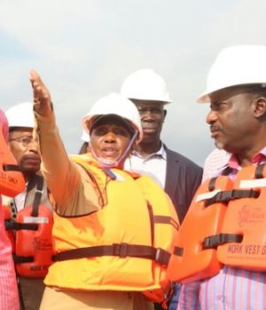 NDDC ag-MD Gbene Dr Joi Nunieh and her team on an inspection of Kaa-Ataba Bridge