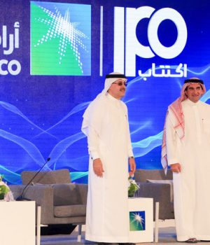 President and CEO of Saudi Aramco Amin Nasser (L) and Aramco's chairman Yasir al-Rumayyan
