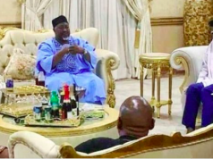 Abubakar Badaru of Jigawa state and Atiku Bagudu of Kebbi in Jonathan's house in Otuoke