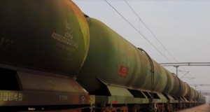 An oil tanker train stationed at a railway station in Ghaziabad, on the outskirts of New Delhi