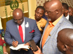 Sen. Dino Melaye presents video evidence to INEC