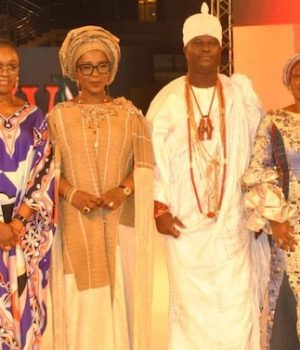 FirstBank's Brands Strategy and Special Projects, Abimbola Meshinoye; Wife of Ogun State Governor, Bamidele Abiodun; wife of Kwara State Governor, Olufolake Abdulrazaq; Ooni of Ife, Oba Adeyeye Enitan Ogunwusi; wife of Ekiti State Governor, Erelu Bisi Fayemi and the Convener/Founder, Africa Fashion Week Nigeria, Princess Ronke Ademiluyi.