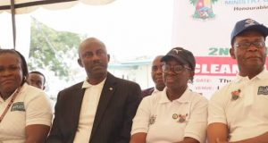 Tunde Dawodu, Special Adviser Drainage and Water Resources Engr Joe Igbokwe, Permanent Secretary Office of the Environment, Mrs Belinda Odeneye during the 2nd Lagos Waterfront Cleanup