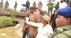 NDDC MD, Gbene Dr Joi Nunieh and her team inspection of Eleme Bridge