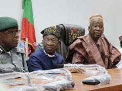 Assistant Comptroller General of the Nigeria Customs Service in charge of Sector Four, Bashir Abubakar; Minister of Information and Culture, Alhaji Lai Mohammed; Kano State Governor, Alhaji Abdullahi Umar Ganduje