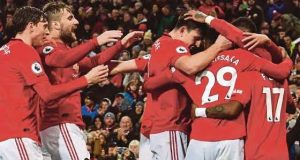 Man Utd celebrate Newcastle's thumbing