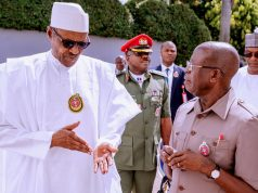 President Buhari with Adams Oshiomhole