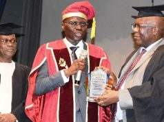 Titi Omo-Ettu; Gov. Babajide Sanwo-Olu, Chairman of the occasion, Former Unilag Vice Chancellor, Prof. Oyewusi Obe