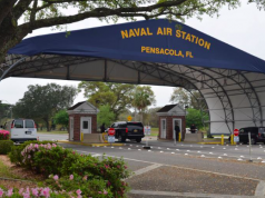 The main gate at Naval Air Station Pensacola is seen on Navy Boulevard in Pensacola,