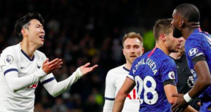 Son Heung-min was sent off for a challenge on Chelsea defender Antonio Rudiger