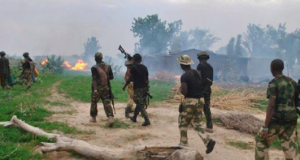 Soldiers inside Adamawa forest