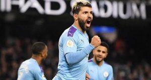 Man City's Sergio Aguero celebrates his goal