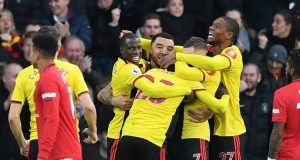 Watford celebrate victory over Man Utd