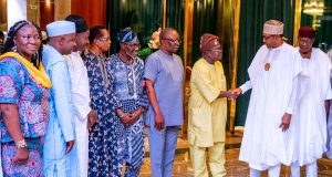 Buhari with ASUU President, Prof. Wale Ogunyemi with his Exco members
