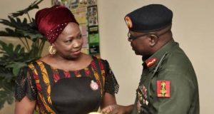 NIDCOM boss, Abike Dabiri-Erewa and Brigadier General Shuaibu Ibrahim of NYSC