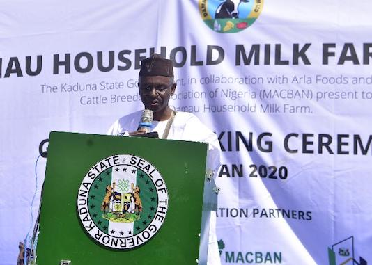 Nasir El-Rufai, delivering his remarks at the groundbreaking ceremony of the Damau Milk Farm Project
