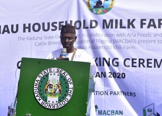 Nasir El-Rufai, delivering his remarks at the groundbreaking ceremony of the Damau Milk Farm Project