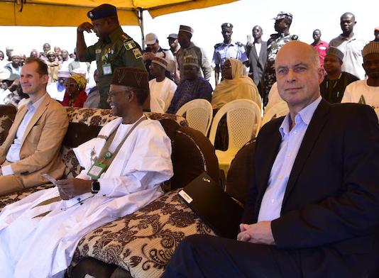 L-R: Jesper Kamp, Ambassador of Denmark, Kaduna State Governor, Malam Nasir El-Rufai and Steen Hadsbjerg, Vice -President Arla Global Dairy, at the groundbreaking ceremony of the Damau Milk Farm Project